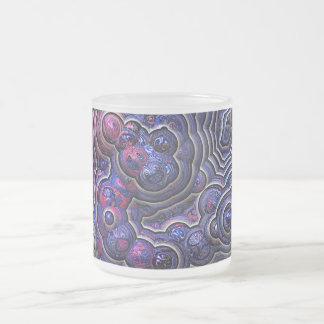 Blue pink purple abstract bubble cells frosted glass coffee mug