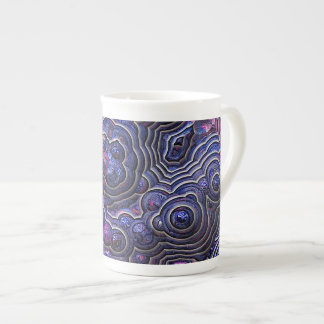 Blue pink purple abstract bubble cells tea cup