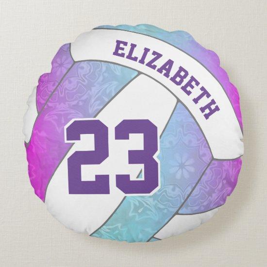 blue pink purple artsy girls volleyball round pillow