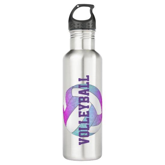 blue pink purple artsy girls volleyball stainless steel water bottle