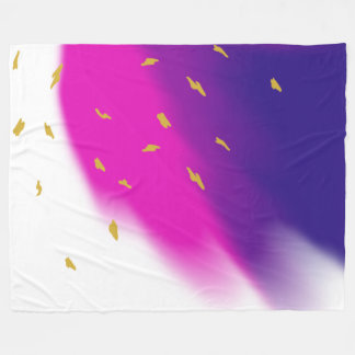 Blue Pink Purple Blend on White, Gold Tone Accents Fleece Blanket