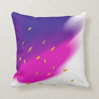 Blue Pink Purple Blend on White, Gold Tone Accents Throw Pillow