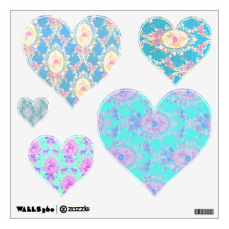 Blue Pink Purple Floral Victorian Wallpaper Hearts Wall Sticker