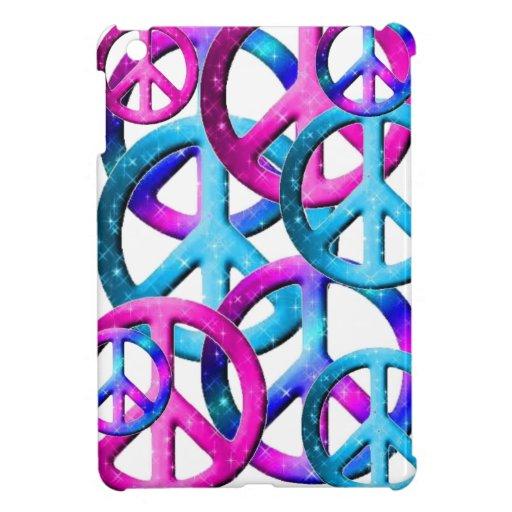 blue pink purple peace sign mini ipad case for the ipad