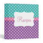 Blue, Pink, & Purple Polka Dot Recipe Binder