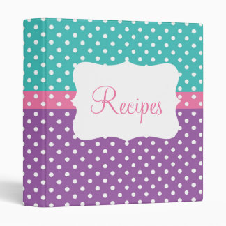 Blue, Pink, & Purple Polka Dot Recipe Binder