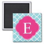 Blue Pink Quatrefoil Monogram 2 Inch Square Magnet