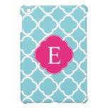 Blue Pink Quatrefoil Monogram Cover For The iPad Mini