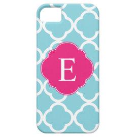 Blue Pink Quatrefoil Monogram iPhone 5 Case
