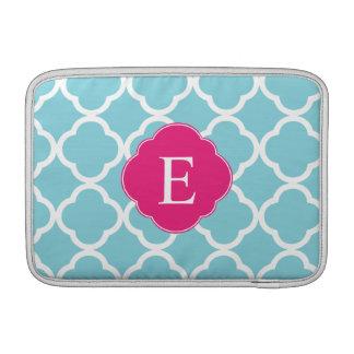 Blue Pink Quatrefoil Monogram MacBook Air Sleeve