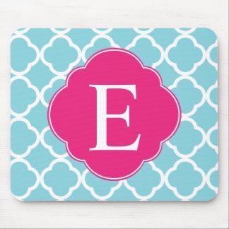 Blue Pink Quatrefoil Monogram Mouse Pad