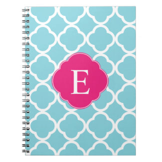 Blue Pink Quatrefoil Monogram Spiral Note Book