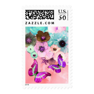 BLUE PINK ROSES,ANEMONE FLOWERS AND BUTTERFLIES POSTAGE