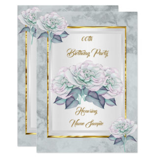Blue Pink Silver Rose Gold Birthday Party Invite