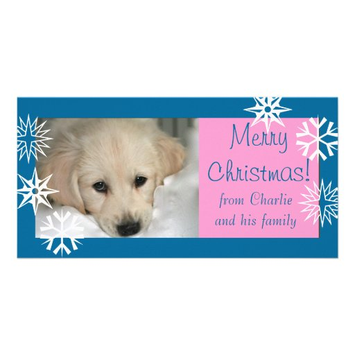 Blue Pink Snowflakes Dog Christmas Photo Card
