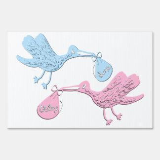 Blue Pink Storks Yard Sign