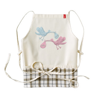 Blue Pink Storks Zazzle HEART Apron