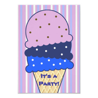 Blue Pink Stripes Ice Cream Party Invitation
