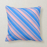 [ Thumbnail: Blue & Pink Stripes Throw Pillow ]