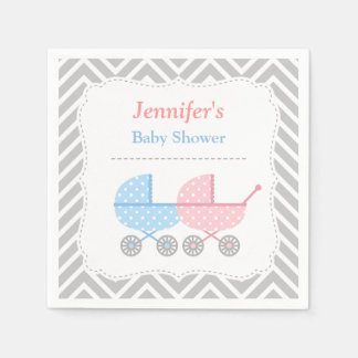 Blue Pink Strollers Twins Baby Shower Supplies Paper Napkin