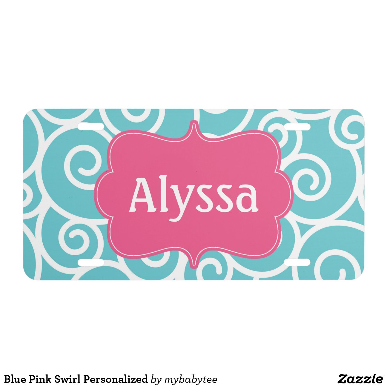 blue_pink_swirl_personalized_license_plate ...