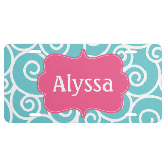 Blue Pink Swirl Personalized License Plate
