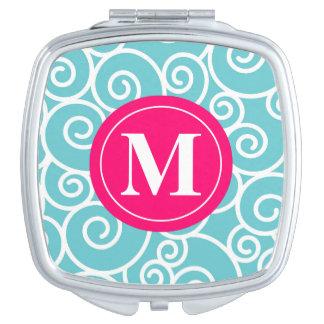 Blue Pink Swirls Monogram Compact Vanity Mirror