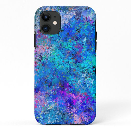 Blue Pink Teal Drops Abstraction  iPhone 11 Case