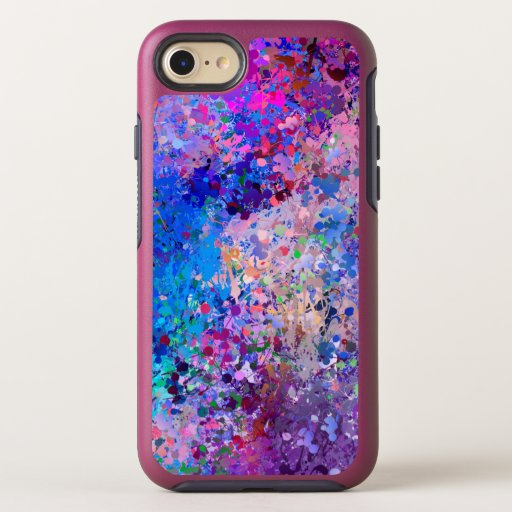 Blue Pink Teal Drops Abstraction   OtterBox Symmetry iPhone SE/8/7 Case