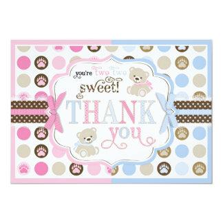 Blue & Pink Teddy Bears Thank You Card