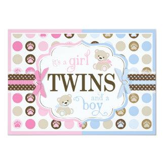 Blue & Pink Teddy Bears Twins Baby Shower Card