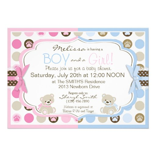 Blue & Pink Teddy Bears Twins Baby Shower Personalized Invites