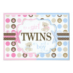 Blue & Pink Teddy Bears Twins Baby Shower 5x7 Paper Invitation Card