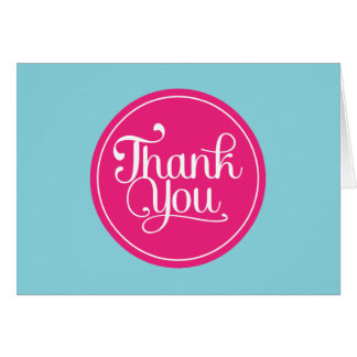 Blue Pink Thank You Card