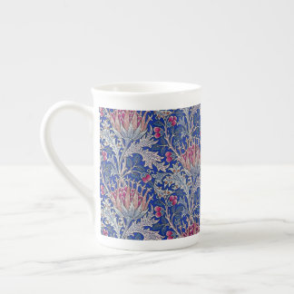 blue pink thistle tea cup