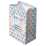 Blue, Pink Triangles Gender Reveal Bow and Bow Tie Medium Gift Bag