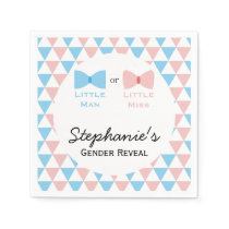 Blue, Pink Triangles Gender Reveal Bow and Bow Tie Napkin
