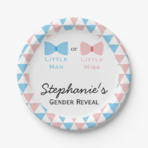 Blue, Pink Triangles Gender Reveal Bow and Bow Tie Paper Plate