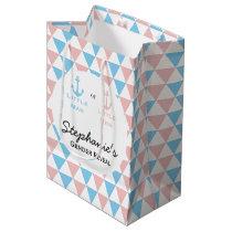 Blue, Pink Triangles Gender Reveal Nautical Anchor Medium Gift Bag