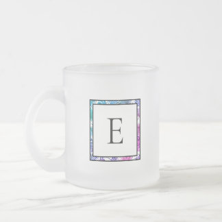Blue & Pink Tropical Palm Leaf Border | Monogram Frosted Glass Coffee Mug