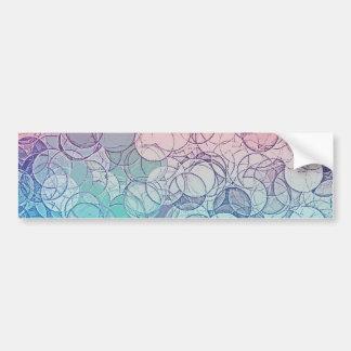 Blue Pink Vintage Abstract Geometric Pattern Bumper Sticker