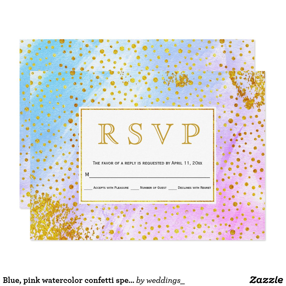 Blue, pink watercolor confetti specks wedding RSVP