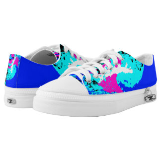 Blue Pink White Black Color Run Printed Shoes