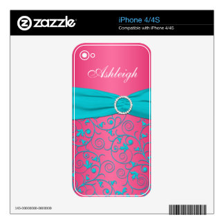 Blue Pink White Damask iPhone 4/4s Skin iPhone 4S Decal