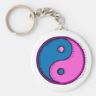 Blue Pink Windblown Yin Yang Keychain