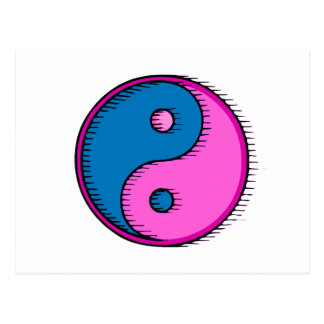 Blue Pink Windblown Yin Yang Postcard