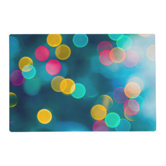 Blue, Pink & Yellow Abstract Lights Placemat