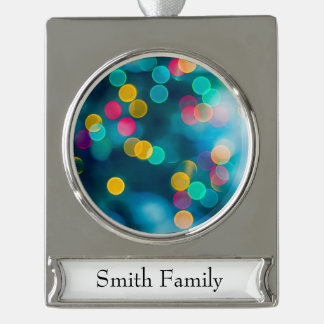 Blue, Pink & Yellow Abstract Lights Silver Plated Banner Ornament