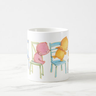 Blue, Pink, Yellow, and Brown Bears Play Coffee Mug