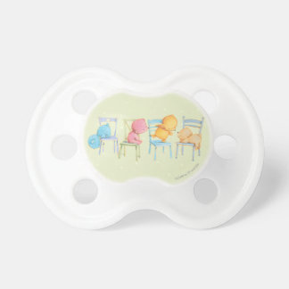Blue, Pink, Yellow, and Brown Bears Play Pacifier